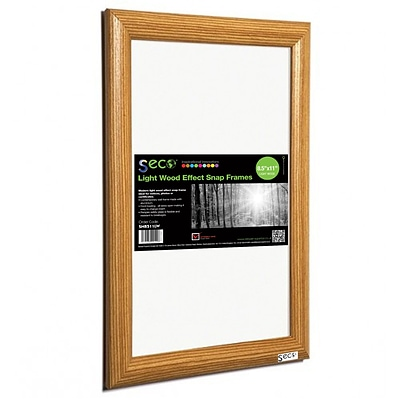 Seco® Front Load Easy Open Snap Poster Frame, 8.5 x 11, Light Wood Effect (SN8511LW)