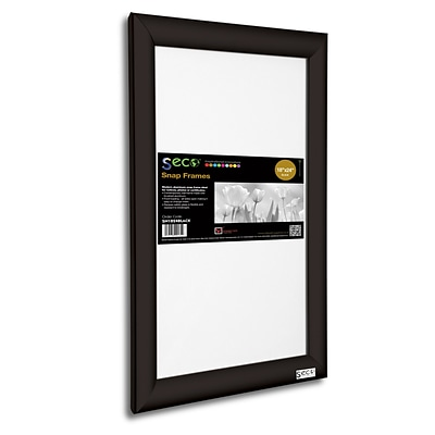 Seco® Front Load Easy Open Snap Poster Frame, 18 x 24, Black Aluminum (SN1824BLACK)