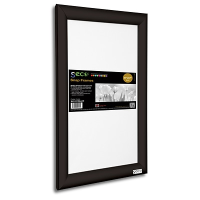 Seco® Front Load Easy Open Snap Poster Frame, 11 x 17, Black Aluminum (SN1117BLACK)
