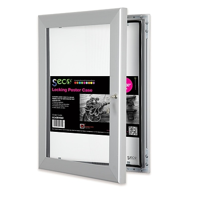 Seco® Locking Indoor/Outdoor Poster Case Shatterproof Rustproof, 40x 60, Silver (LCASE4060)