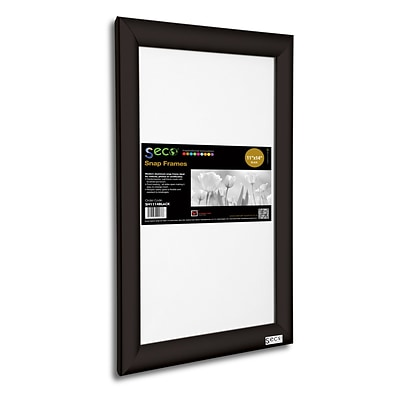 Seco® Front Load Easy Open Snap Poster Frame, 11 x 14, Black Aluminum (SN1114BLACK)