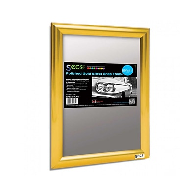 Seco® Front Load Easy Open Snap Poster Frame, 8.5 x 11, Polished Gold Effect (SN8511POLG)