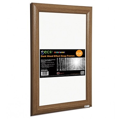 Seco® Front Load Easy Open Snap Poster Frame, 24 x 36, Dark Wood Effect (SN2436DW)