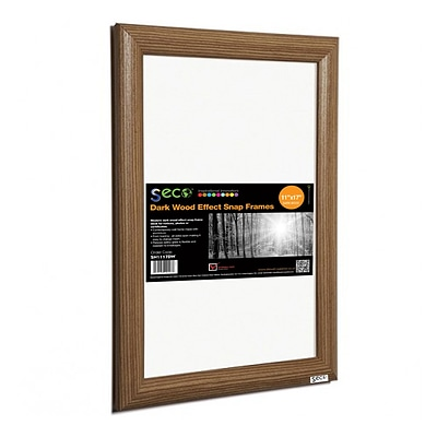 Seco® Front Load Easy Open Snap Poster Frame, 11 x 17, Dark Wood Effect (SN1117DW)