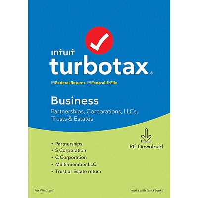 Intuit TurboTax Business Fed and E-File 2019 for 1 User, Windows, Download (0607302)