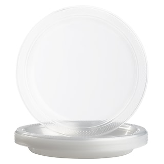 JAM Paper® Round Plastic Disposable Party Plates, Medium, 9 Inch, Clear, 20/Pack (9255320679)