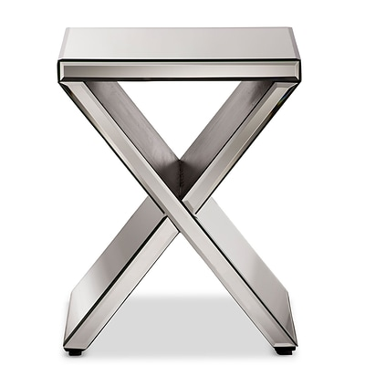 Baxton Studio Morris 16W x 16D Accent Table, Silver Mirrored (6736-STPL)