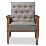 Baxton Studio Sorrento 27.11 W x 29.45 D Accent Chair, Gray (6766-STPL)