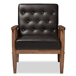 Baxton Studio Sorrento 27.11 W x 29.45 D Accent Chair, Dark Brown (6765-STPL)