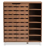 Baxton Studio Shirley 34.16 W x 13.85 D Storage Cabinet, Brown (6602-STPL)