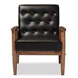 Baxton Studio Sorrento 27.11 W x 29.45 D Accent Chair, Black (6764-STPL)