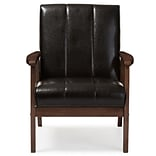 Baxton Studio Nikko 25.35 W x 29.45 D Accent Chair, Dark Brown (6745-STPL)