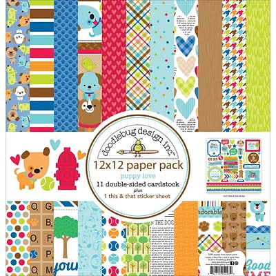 Doodlebug PL5293 Doodlebug Double-Sided Paper Pack 12X12 11/Pkg-Puppy Love