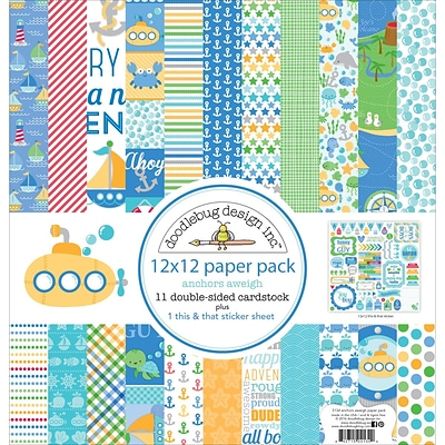 Doodlebug AA5134 Doodlebug Double-Sided Paper Pack 12X12 11/Pkg-Anchors Aweigh