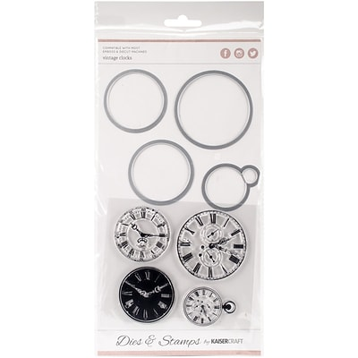 Kaisercraft DD904 Kaisercraft Dies & Stamps-Vintage Clocks 1.75X1.25 To 2.25X2.25