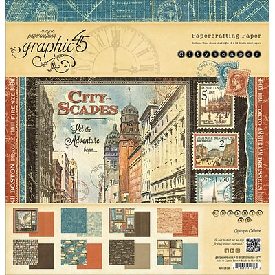 Graphic 45 G4501312 Graphic 45 Double-Sided Paper Pad 12X12 24/Pkg-Cityscapes, 8 Designs/3 Each