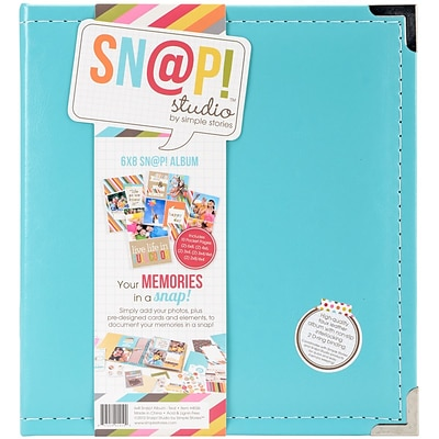 Simple Stories SNAP6X8L-4036 Sn@p! Leather Binder 6X8-Teal