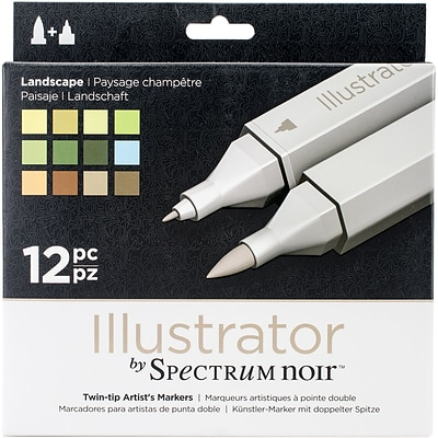 Crafters Companion Spectrum Noir™ Illustrator Twin Tip Markers, Landscape, 12/Package (SN-ILL12-LAND)