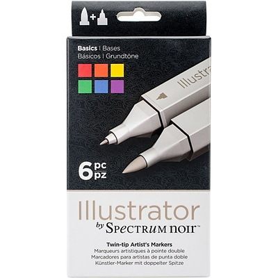 Crafters Companion Spectrum Noir™ Illustrator Twin Tip Markers, Basics, 6/Package (SPECN-IL-BAS)