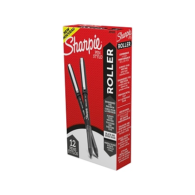 Sharpie Roller Rollerball Pen, Needle Point, Black Ink, Dozen (2093225)