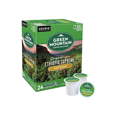 Green Mountain Ethiopia Supreme Caffeinated Coffee, Keurig® K-Cup® Pods, Light Roast, 24/Box (384886)