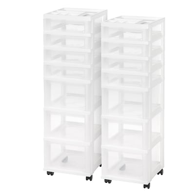 IRIS 7-Drawer Storage Cart with Organizer, White 2/CT (116842)