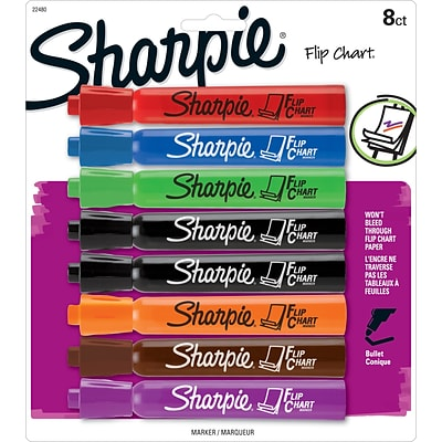 Sharpie Flip Chart Water Based Markers, Bullet Point, Assorted, 8/Pack (22480)