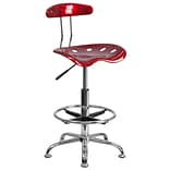 Belnick Vibrant Chrome Drafting Stool with Tractor Seat, Wine Red