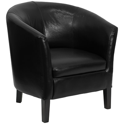Flash Furniture Leather Barrel Shaped Club Guest Chair, Black