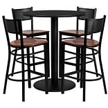 Flash Furniture 36 Round Laminate Table Set W/4 Grid Back Metal Bar Stools, Black /Cherry (MD0018)