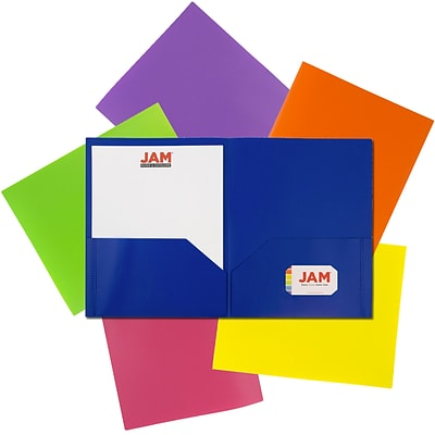 JAM Paper Pop 2-Pocket Presentation Folder, Assorted Colors, 6/Pack (383Eassrtd)