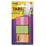 Post-it® Tabs, 1 Wide, Solid, Assorted Colors, 66 Tabs,Dispenser (686-PGO)
