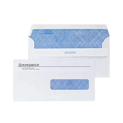 Custom 4-1/2 x 9 Insurance Claim Right Window Self Seal Envelopes with Security Tint, 24# White Wove, 1 Standard Ink