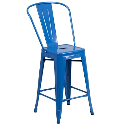 Flash Furniture 24H Metal Indoor/Outdoor Counter-Height Stool, Blue (CH3132024GBBL)