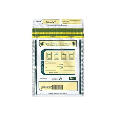 SafeLOK Series A Deposit Bag, White, 100/Pack (585089)