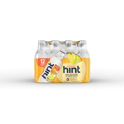 Hint Pineapple Flavored Water, 16 Oz., 12/Carton (00129)