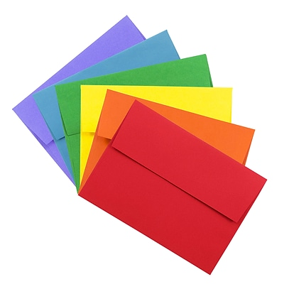 JAM Paper® A6 Colored Invitation Envelopes, 4.75 x 6.5, Assorted Colors, 150/Pack (67A6BRORGVB)