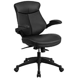 Flash Furniture Leather Mid-Back Exec Swivel Office Chair w/Back Angle Adj & Flip-Up Arms, Black