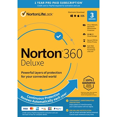 Norton 360 Deluxe 1 Year Subscription for 1 User, Windows/Mac/Android/iOS, Product Key Card  (21392065)