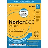 Norton 360 Deluxe w/ Utilities Bundle 1 Year Subscription for 3 Devices, Windows/Mac/Android/iOS, Pr