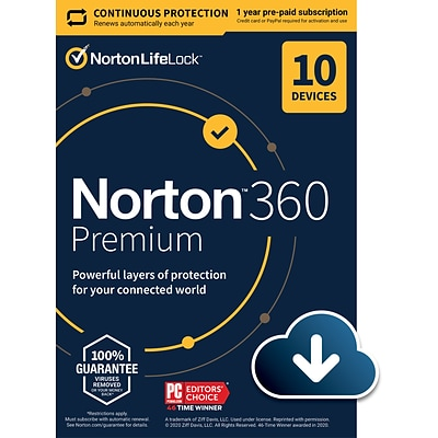 Norton 360 Premium for 10 Devices, Windows/Mac/Android/iOS, Download (21390643)