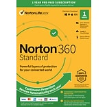 Norton 360 Standard 1 Year Subscription for 1 Device, Windows/Mac/Android/iOS, Product Key Card (213