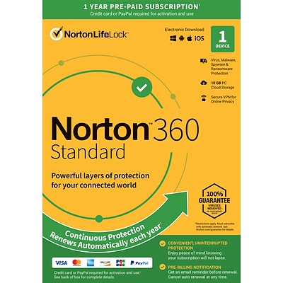 Norton 360 Standard 1 Year Subscription for 1 Device, Windows/Mac/Android/iOS, Product Key Card (21392075)