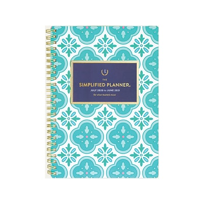 2020-2021 AT-A-GLANCE 5.5 x 8.5 Academic Planner, Emily Ley Simplified, Colorful Quatrefoil (EL400-091A-21)