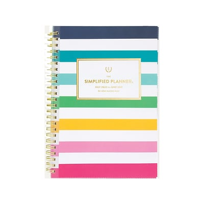 2020-2021 AT-A-GLANCE 5.5 x 8.5 Academic Planner, Emily Ley Simplified, Happy Stripe (EL400-201A-21)