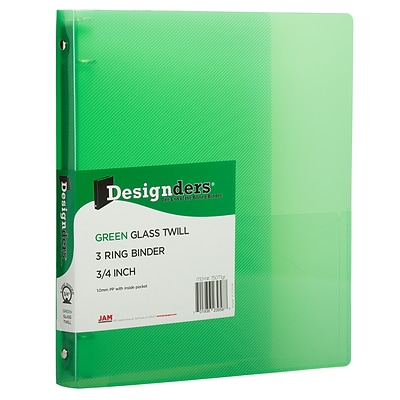 JAM Paper® Plastic 0.75 Inch Binder, Green 3 Ring Binder, Sold Individually (750T1GR)