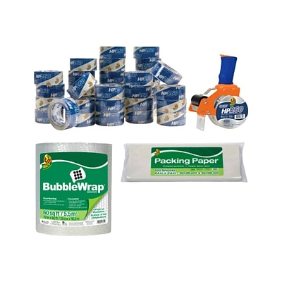 Duck 39 Piece Mailroom Bundle - HP620 Packing Tape 36/Pack + BladeSafe Tape Gun + 60 Bubble Wrap + Packing Paper