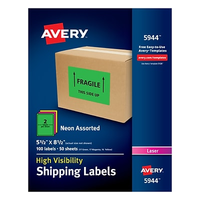 Avery High Visibility Laser Shipping Labels, 5 1/2 x 8 1/2, Neon Assorted, Pack of 100 (5944)
