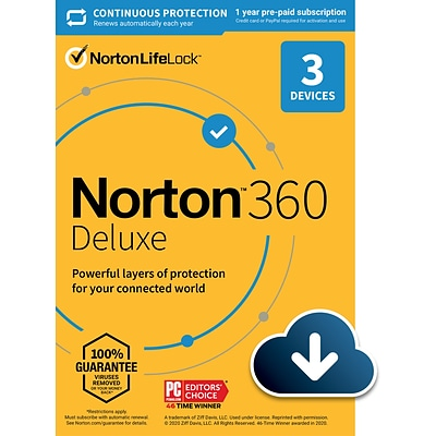 Norton 360 Deluxe for 3 Devices, Windows/Mac/Android/iOS, Download (21392049)