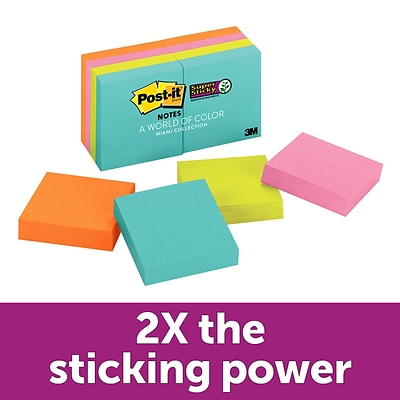 Post-it® Super Sticky Notes, 1 7/8 X 1 7/8, Miami Collections, 90 Sheets/Pad, 8 Pads/Pack (622-8SSMIA)